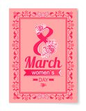 8 March Womens Day Best Wish Postcard Swirly Frame. 8 March Womens Day best wishes postcard with big sign and swirly frame. 8 March card in bright pink color Royalty Free Illustration