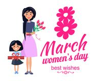 8 March Womens Day Best Wishes Vector Illustration. 8 March womens day best wishes, poster with woman and her daughter with present and flowers, smiles and Stock Photo