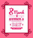 8 March Womens Day with Bows Vector Illustration. 8 March womens day, poster with headline, and frame decorated with bows, ribbon and title, floral elements Royalty Free Stock Photos