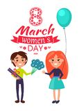 8 March Womens Day Boy, Girl Vector Illustration. 8 March womens day, poster with boy giving flowers and present to girl, standing with balloon, vector stock illustration
