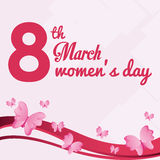 8 march womens day card with butterfly flying. Vector illustration eps 10 stock illustration