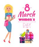 8 March Womens Day Celebration Vector Illustration. 8 March womens day, celebration and presents, woman wearing blue dress, with bouquet of tulips, vector Stock Photography