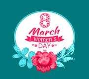 8 March Womens Day Circular Vector Illustration. 8 March womens day, postcard with circular frame and lettering with ribbon of pink color, flower and leaves stock illustration