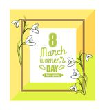 8 March Womens Day Colorful Vector Illustration. 8 March womens day, colorful poster with frame and flowers, headline in centerpiece with heart and wings icon royalty free illustration