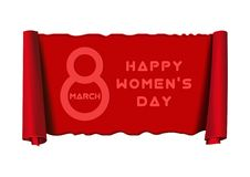 8 March. Womens Day design. Happy Women`s Day - greeting inscription on a red scroll. Vector illustration stock illustration