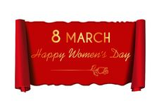8 March. Womens Day design. Womens Day design. 8 March. Happy Women`s Day - gold greeting inscription on a red scroll. Vector illustration stock illustration