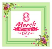 8 March Womens Day and Frame Vector Illustration. 8 March womens day composition of decorated lettering and double frame with flowers, ribbon and text, vector vector illustration
