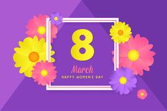 8 march womens day greeting card. Banner, poster, greeting card for womens day. Spring and summer. It can be print or just to share on social media Stock Images