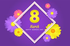 8 march womens day greeting card. Banner, poster, greeting card for womens day. Spring and summer. It can be print or just to share on social media Stock Photos