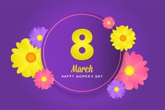 8 march womens day greeting card. Banner, poster, greeting card for womens day. Spring and summer. It can be print or just to share on social media Royalty Free Stock Images