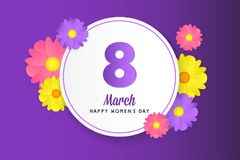 8 march womens day greeting card. Banner, poster, greeting card for womens day. Spring and summer. It can be print or just to share on social media Royalty Free Stock Photography