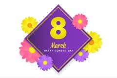 8 march womens day greeting card. Banner, poster, greeting card for womens day. Spring and summer. It can be print or just to share on social media Royalty Free Stock Photo