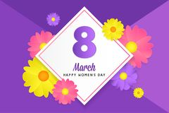 8 march womens day greeting card. Banner, poster, greeting card for womens day. Spring and summer. It can be print or just to share on social media Royalty Free Stock Image