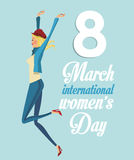 8 march womens day international girl funny. Vector illustration eps 10 Royalty Free Stock Images