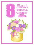8 March Womens Day Placard Vector Illustration. 8 March, womens day, love spring, placard with bouquet, of roses and petals, flowers in rounded box, with ribbon Royalty Free Stock Photography
