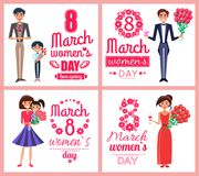 8 March Womens Day Love Spring Vector Illustration. 8 March womens day, love spring, set of posters with men and presents, diamond and flowers, ladies with smile Stock Illustration