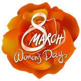 8 march womens day. orange rose background. Art Royalty Free Stock Photo