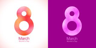 March 8 - Womens Day paper design of greeting card template. Symbol of International Women`s day. Womens Day paper design of greeting card template. March 8 Royalty Free Stock Images