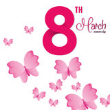 8 march womens day pink butterfly. Vector illustration eps 10 royalty free illustration