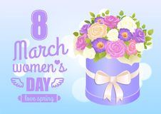 8 March Womens Day Poster with Bouquet of Rose. And daisy flowers in decorative wrapping box paper package vector illustration blooming flower present Stock Photo
