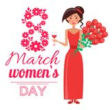 8 March Womens Day Poster Vector Illustration. 8 March womens day, poster with decorated headline, beautiful smiling woman dressed in red dress standing with Stock Photography
