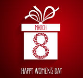 8 March, Womens Day poster. Gift box on red background Royalty Free Stock Photos