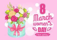 8 March Womens Day Poster with Realistic Bouquet. 8 March womens day poster with realistic spring bouquet of rose flowers pink red and white color in decorative Royalty Free Stock Image