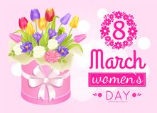 8 March Womens Day Poster with Realistic Bouquet. Of tulips daisies and crocus flowers packed in round box and wrapped by bow vector illustration Royalty Free Stock Photography