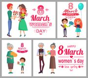 8 March Womens Day Poster Set Vector Illustration. 8 March womens day love spring posters set, husband giving gift to wife, grandmother and grandfather, kids and royalty free illustration