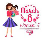 March 8 Womens Day Poster Vector Illustration. March 8 womens day, poster with headline decorated with flowers, woman with daughter and bouquet, smiles and Stock Photo