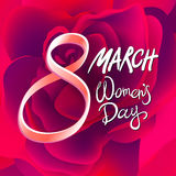 8 march womens day. red pink rose background. Art Royalty Free Stock Image