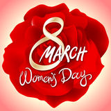 8 march womens day. red pink rose background. Art Stock Images