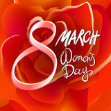 8 march womens day. red rose background. Art Stock Photos