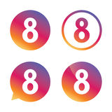 8 March Womens Day sign icon. Eight symbol. Gradient buttons with flat icon. Speech bubble sign. Vector Royalty Free Stock Photos