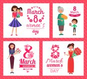 8 March Womens Day Collection Vector Illustration. 8 March womens and ladys day, happy and smiling females with flowers and present, madame in dress with glass Stock Illustration