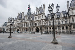 15 MARCH 2015 : Wonderful front view of Hotel de Ville at Paris Royalty Free Stock Image