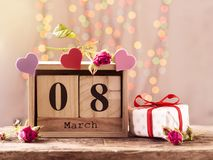March 8, wooden calendar, happy women`s day Stock Image
