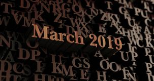 March 2019 - Wooden 3D rendered letters/message. Can be used for an online banner ad or a print postcard Stock Photo