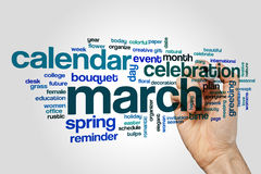 March word cloud Royalty Free Stock Photos