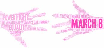 March 8 Word Cloud. March 8 International Women`s Day word cloud on a white background vector illustration