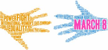 March 8 Word Cloud. March 8 International Womens Day word cloud on a white background royalty free illustration