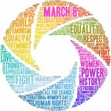 March 8 Word Cloud. March 8 International Women`s Day word cloud on a white background royalty free illustration