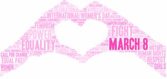 March 8 Word Cloud. March 8 International Women`s Day word cloud on a white background stock illustration