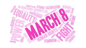 March 8 Word Cloud. On a white background Stock Illustration