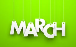 March. Word hanging on a strings Stock Photos