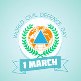 1 march World Civil Defence Day. Calendar for each day on march 1. Greeting card. Holiday - World Civil Defence Day. Icon in the linear style Royalty Free Stock Photography