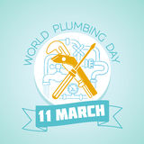 11 March World Plumbing Day. Calendar for each day on Marchr 11. Greeting card. Holiday - World Plumbing Day. Icon in the linear style stock illustration