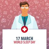 17 March. World Sleep Day. Medical holiday. Vector medicine illustration. 17 March. World Sleep Day. Medical holiday. Vector medicine illustration Stock Photos