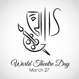 27 March. World theatre day greeting card. 27 March. World theatre day. Vector greeting card Stock Image
