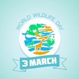 3 March World Wildlife Day. Calendar for each day on March Royalty Free Stock Photo